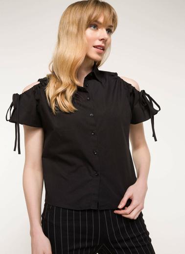 DeFacto Omuz Detaylı Gömlek Siyah